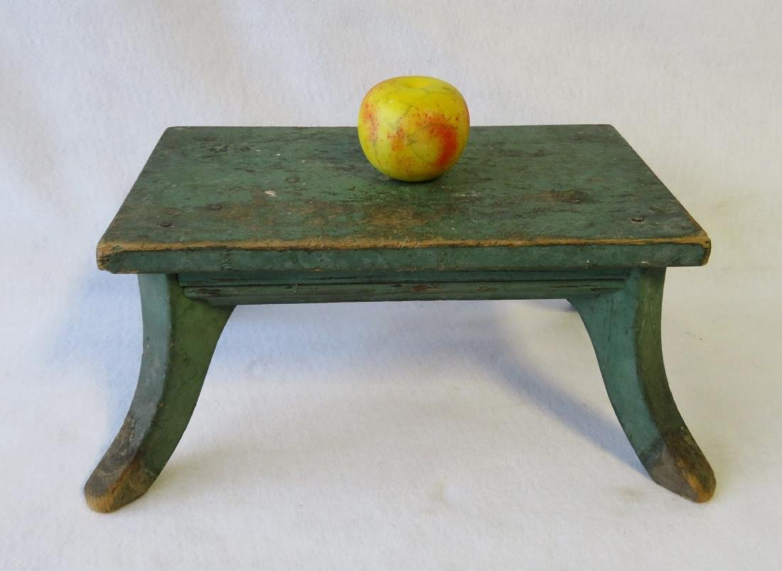 Cricket stool in original green paint - late 19th