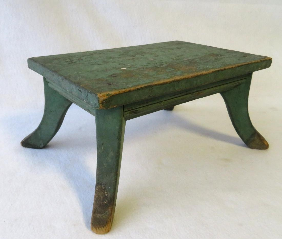 Cricket stool in original green paint - late 19th - 3