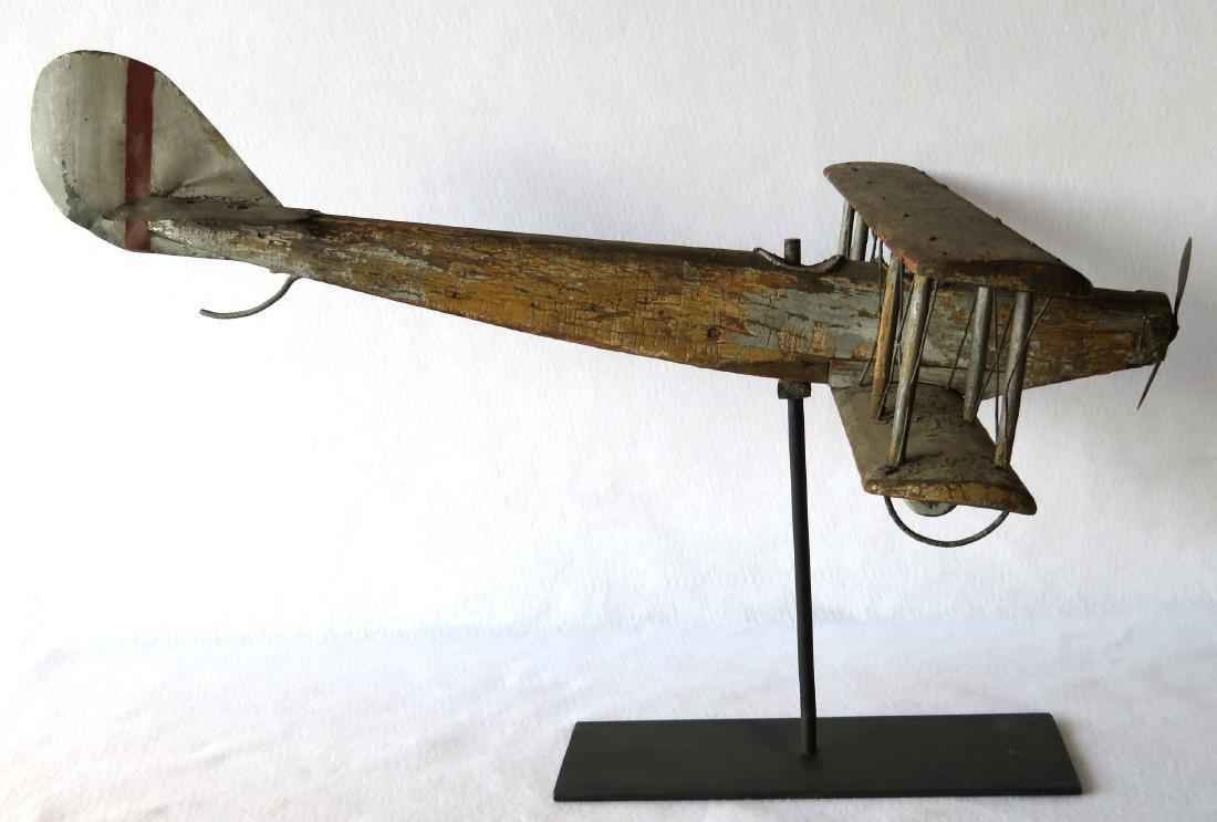 Primitive folk art wooden biplane weathervane (similar