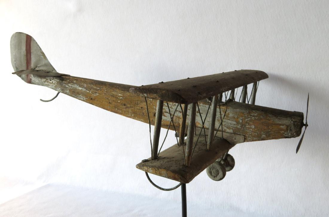 Primitive folk art wooden biplane weathervane (similar - 2