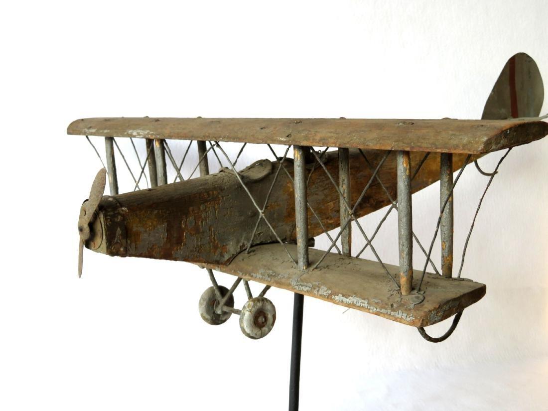 Primitive folk art wooden biplane weathervane (similar - 7