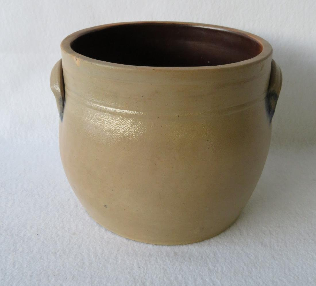 Stoneware 2 gallon crock decorated with a large cobalt - 4