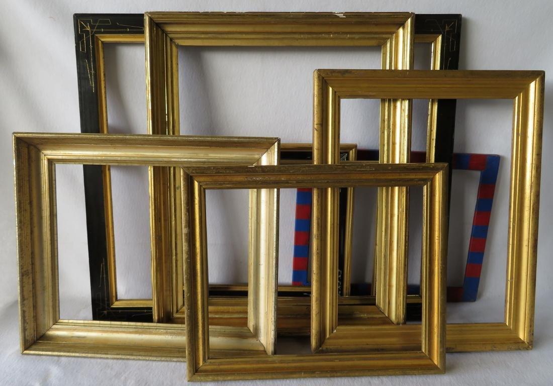 Grouping of 8 vintage frames including 4 lemon gold, 3