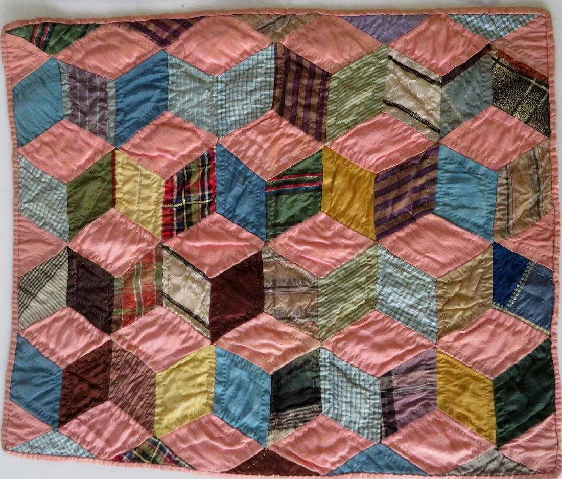 Two hand sewn doll's quilts including tumbling block - 2