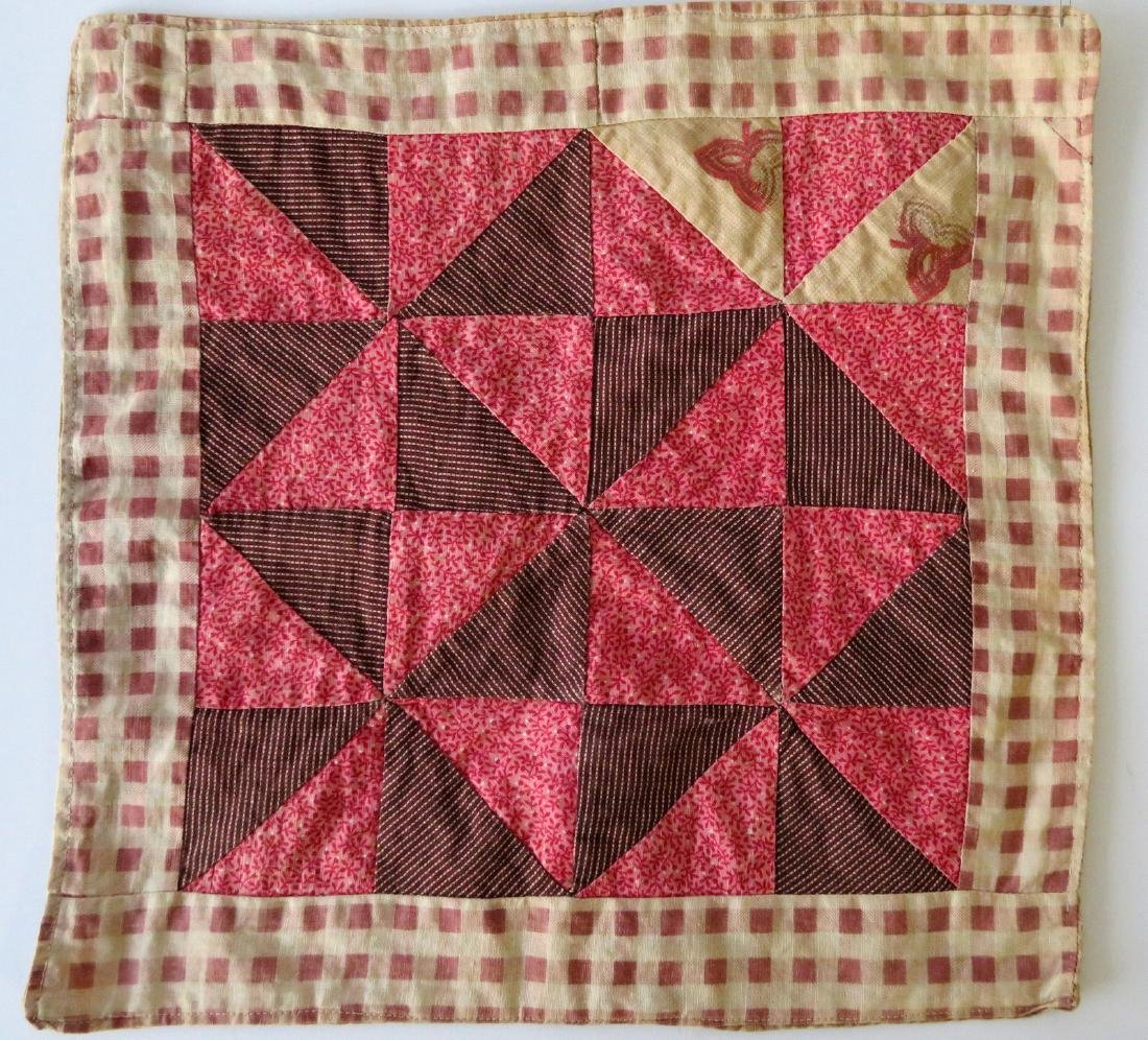Two hand sewn doll's quilts including tumbling block - 4