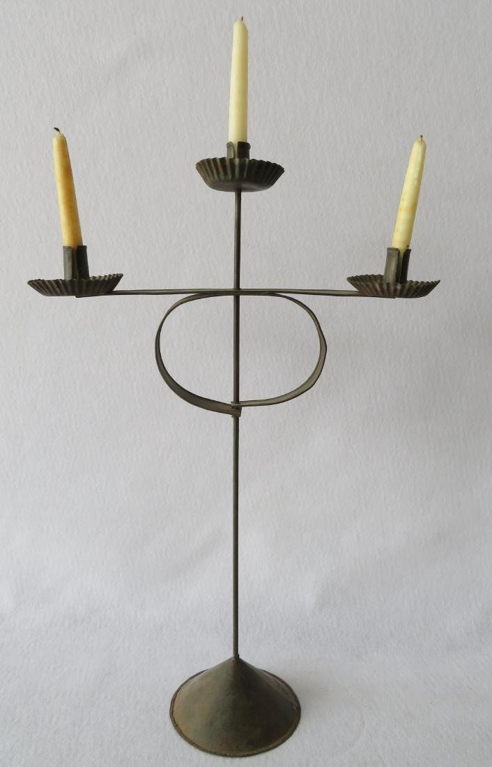 Matched pair of rolled tin candelabras having 3 fonts - 2