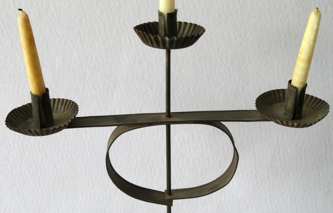 Matched pair of rolled tin candelabras having 3 fonts - 3