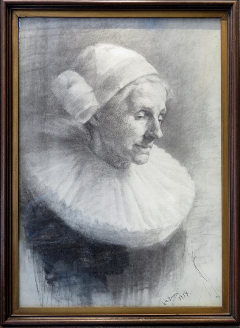Chalk portrait of a Dutch lady signed Levar 1914 -