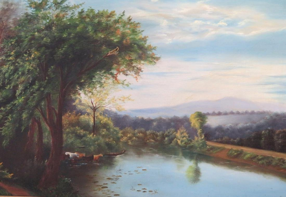 O/C Country landscape with cows in river, rolling hills - 2