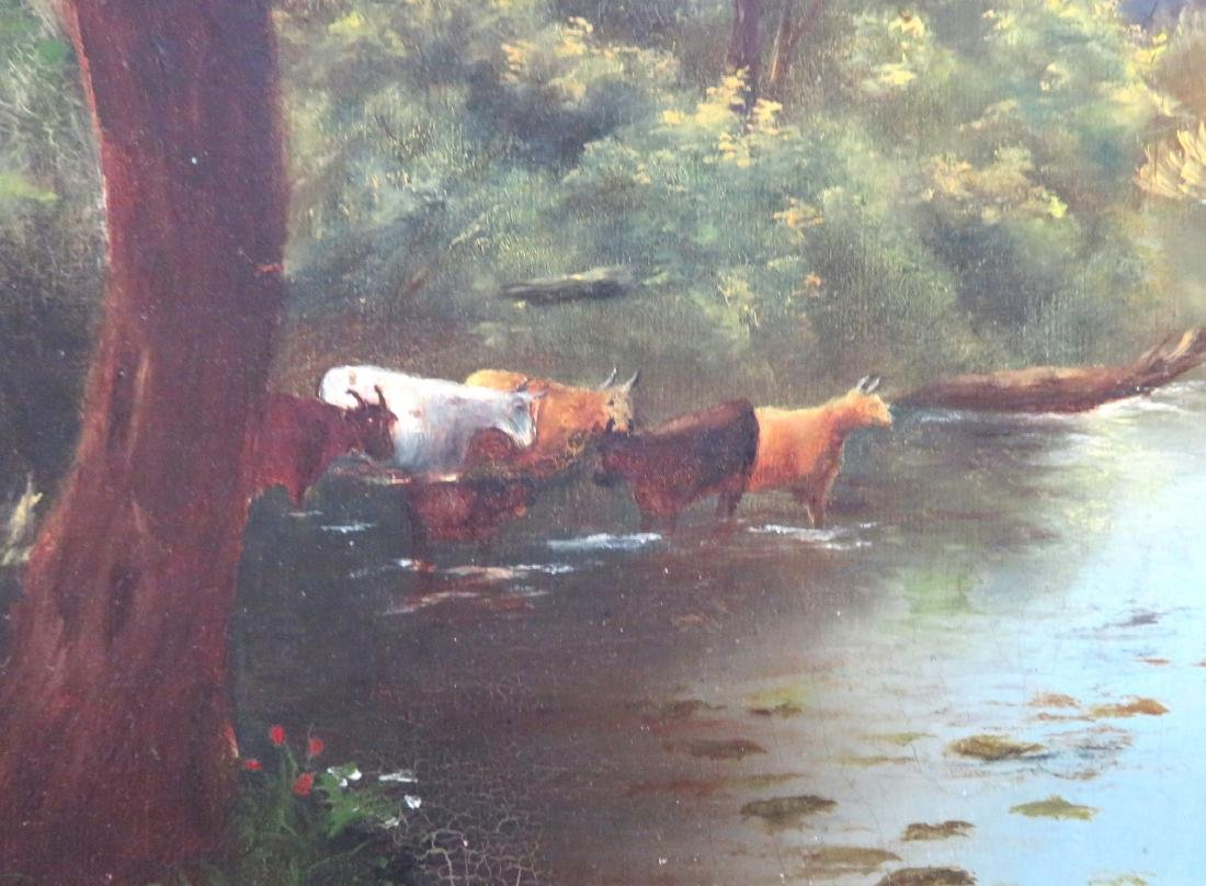 O/C Country landscape with cows in river, rolling hills - 3