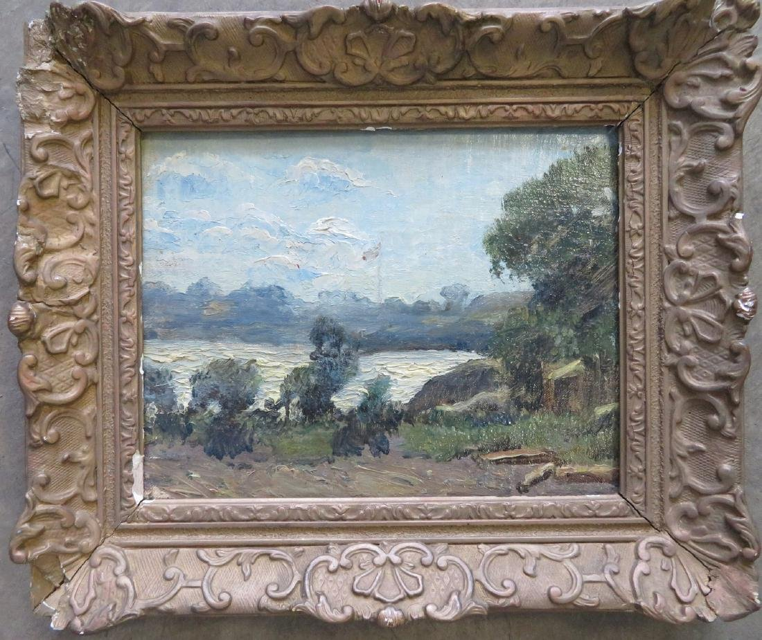 Impressionist landscape with shack by river, building