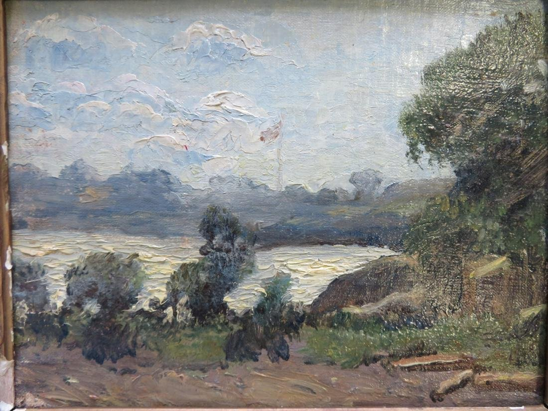 Impressionist landscape with shack by river, building - 2