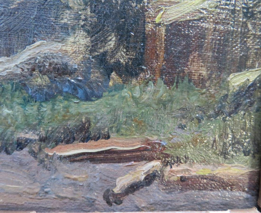 Impressionist landscape with shack by river, building - 3