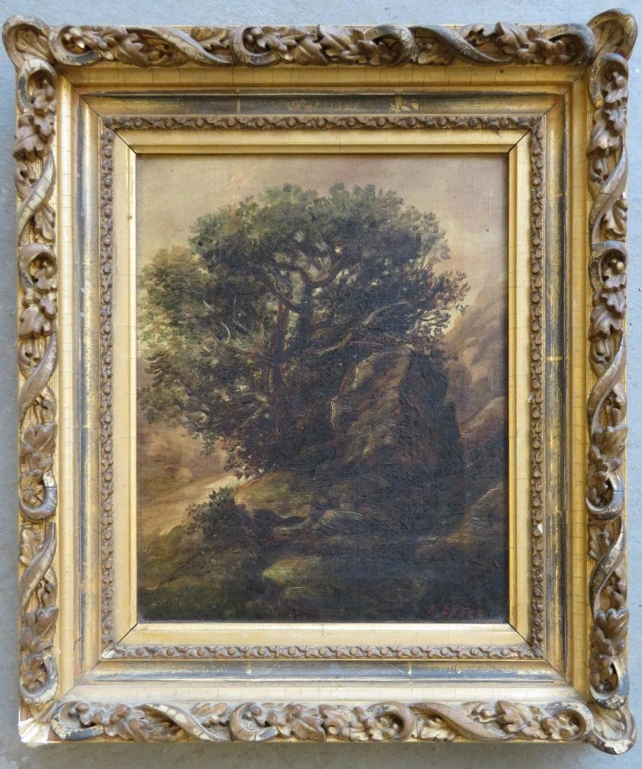O/C Country landscape with large tree by boulder,