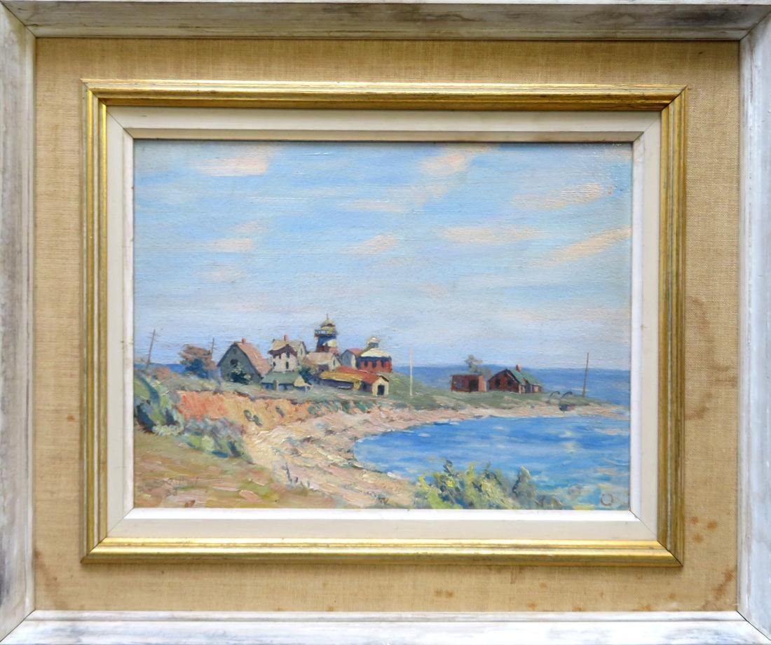O/B American Impressionist seascape with large building
