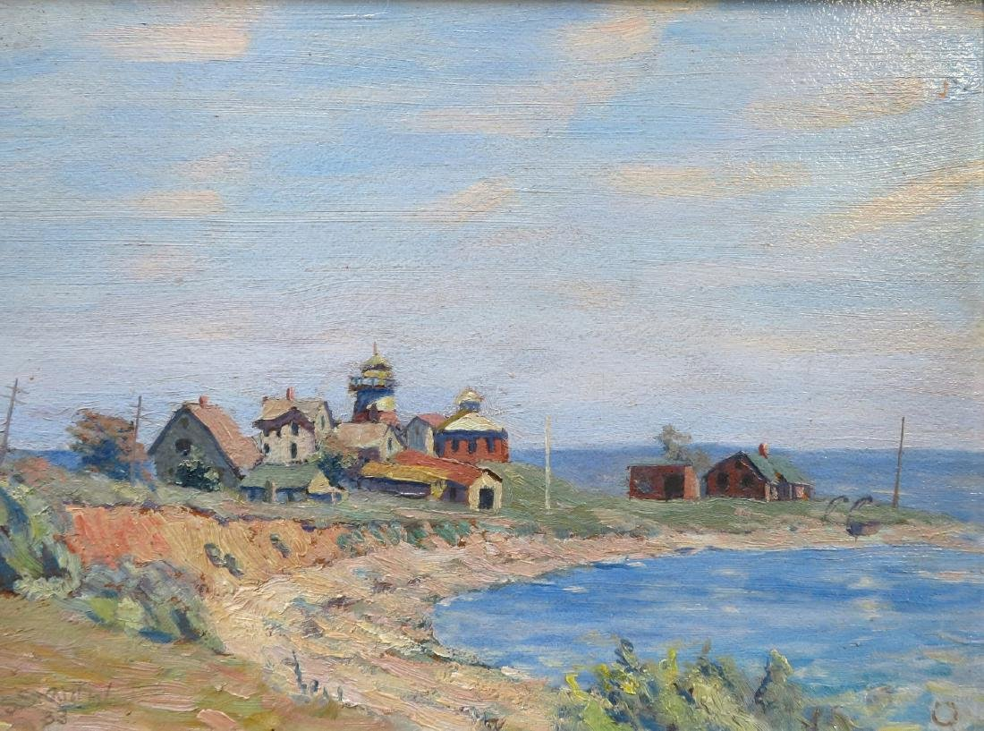 O/B American Impressionist seascape with large building - 2