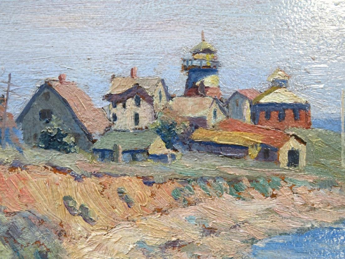 O/B American Impressionist seascape with large building - 4