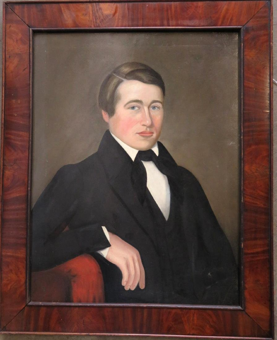 Large early portrait of a stately young man, early 19th