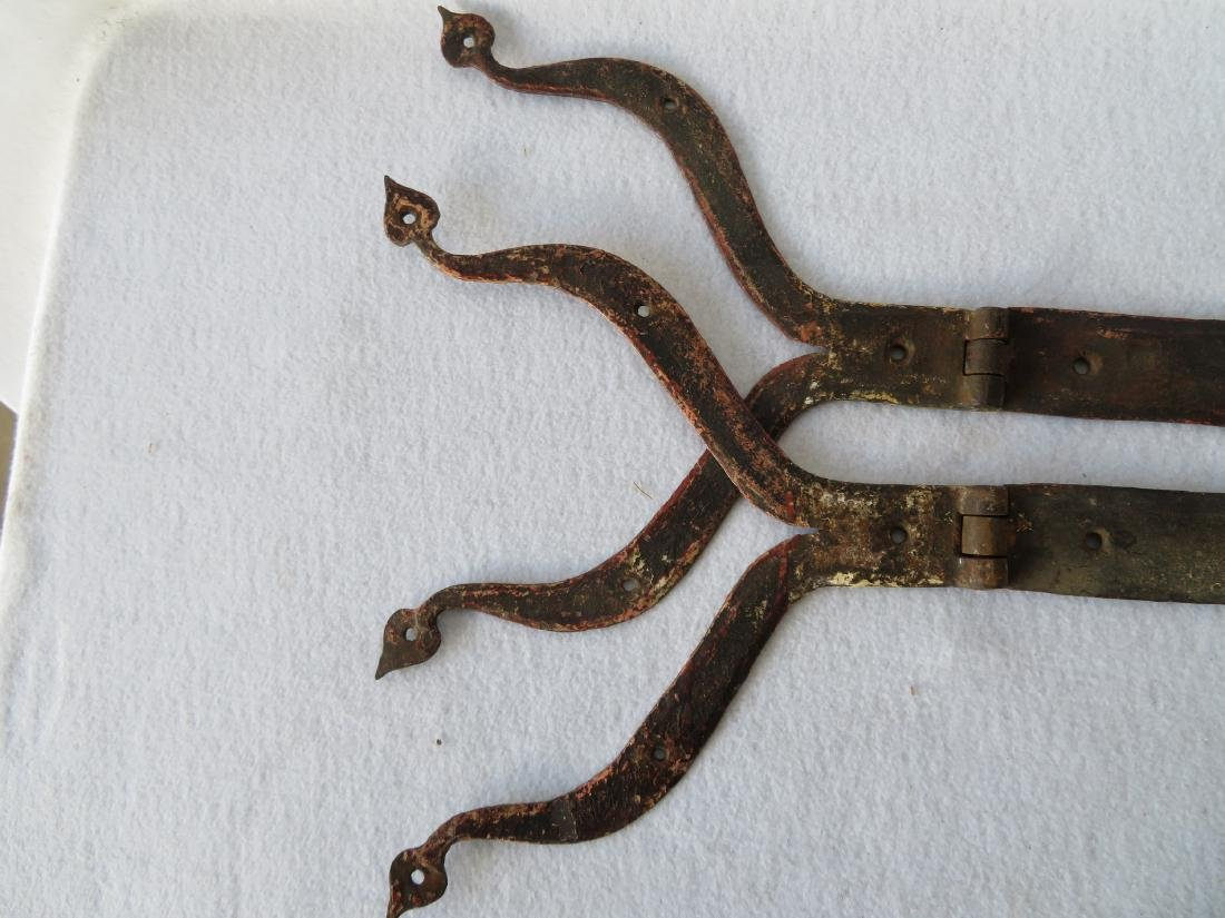 Pair of hand forged iron strap hinge with heart shaped - 4