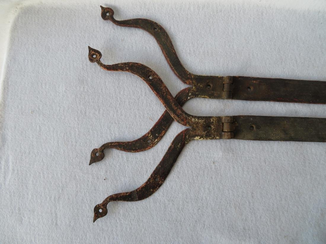 Pair of hand forged iron strap hinge with heart shaped - 5
