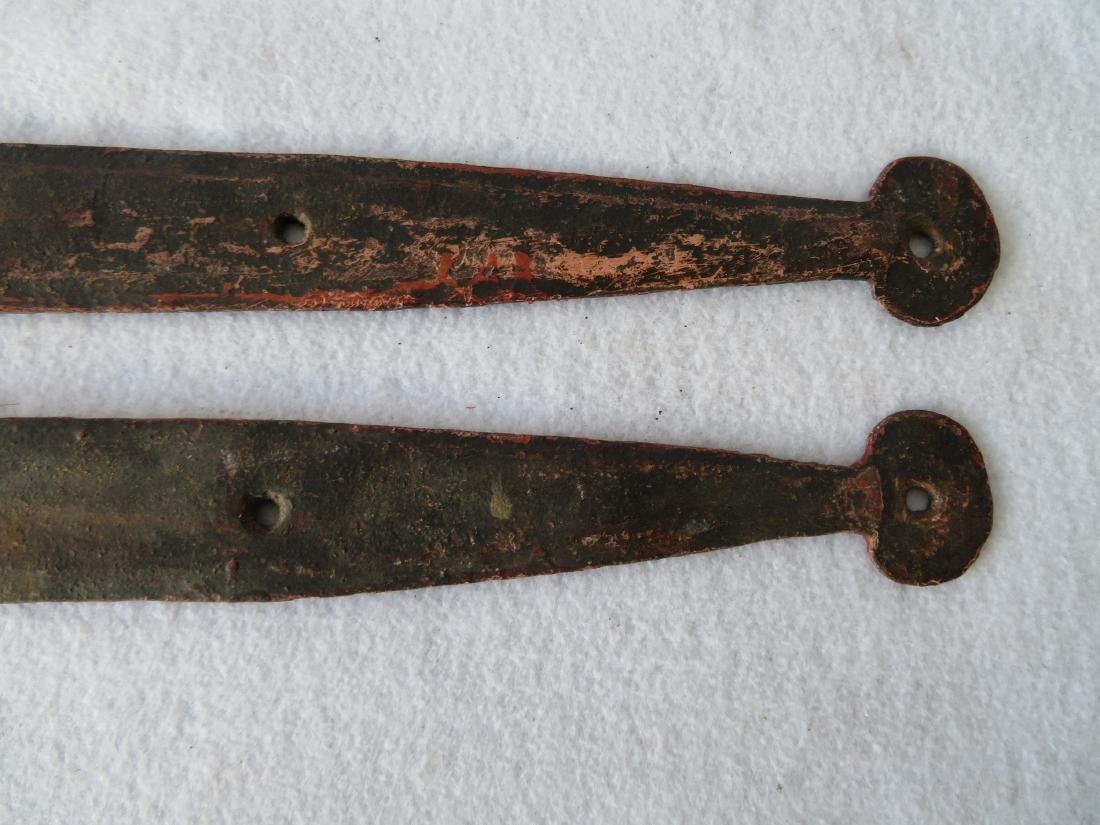 Pair of hand forged iron strap hinge with heart shaped - 6