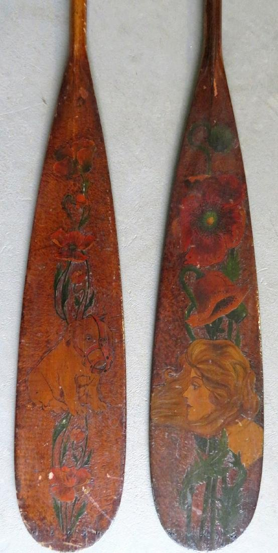 Two carved wooden Flemish art canoe paddles, probably - 2