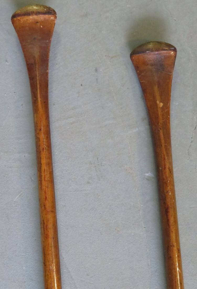 Two carved wooden Flemish art canoe paddles, probably - 3