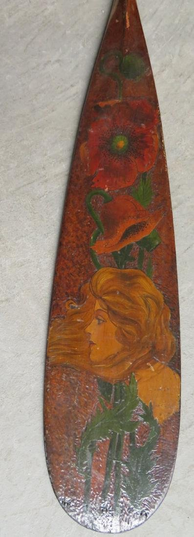 Two carved wooden Flemish art canoe paddles, probably - 4
