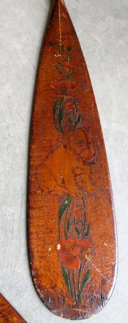 Two carved wooden Flemish art canoe paddles, probably - 6