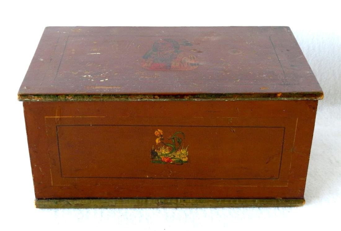 Small hand painted document box with portrait of Indian