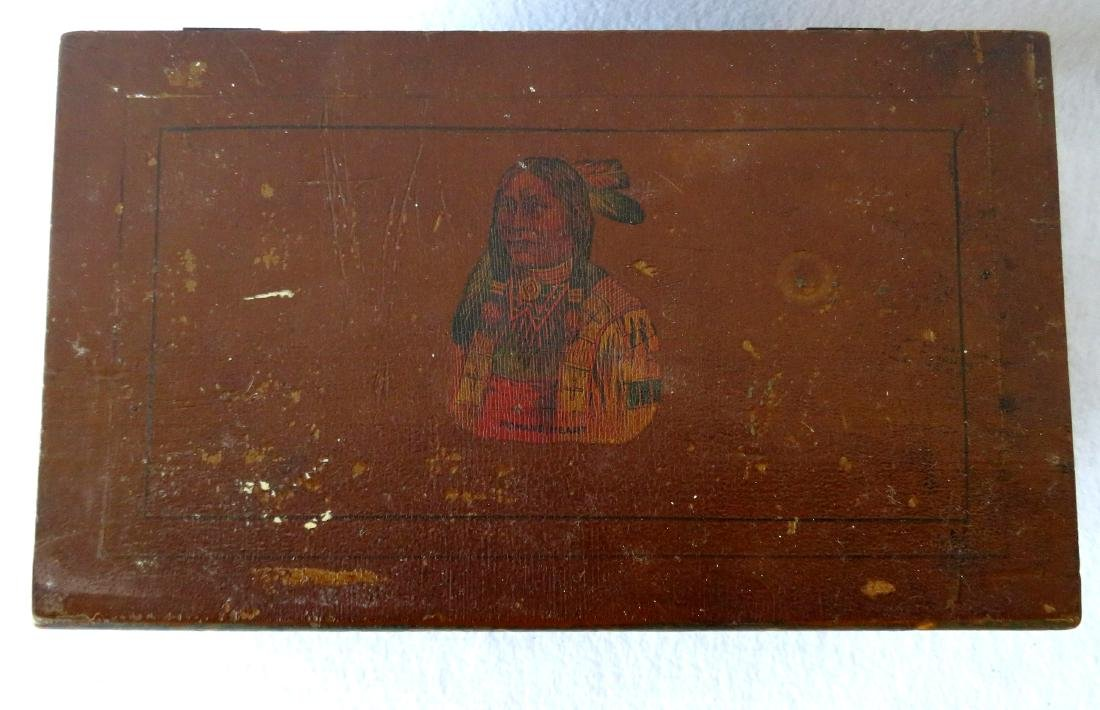 Small hand painted document box with portrait of Indian - 2