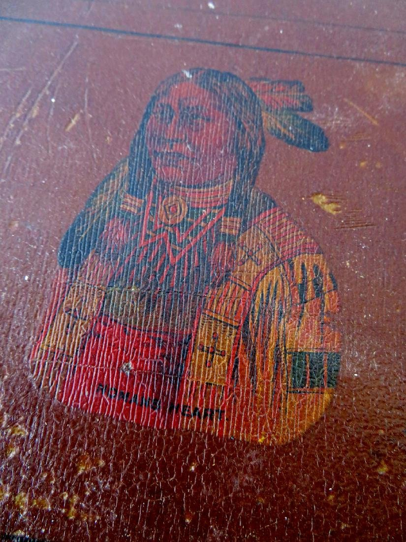 Small hand painted document box with portrait of Indian - 3