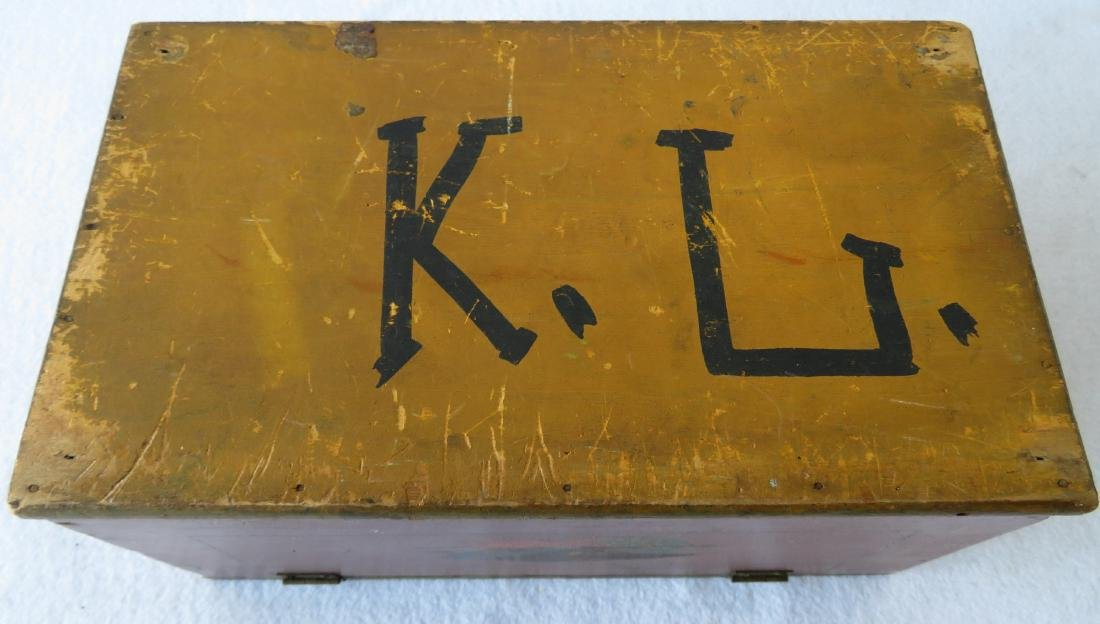 Small hand painted document box with portrait of Indian - 8