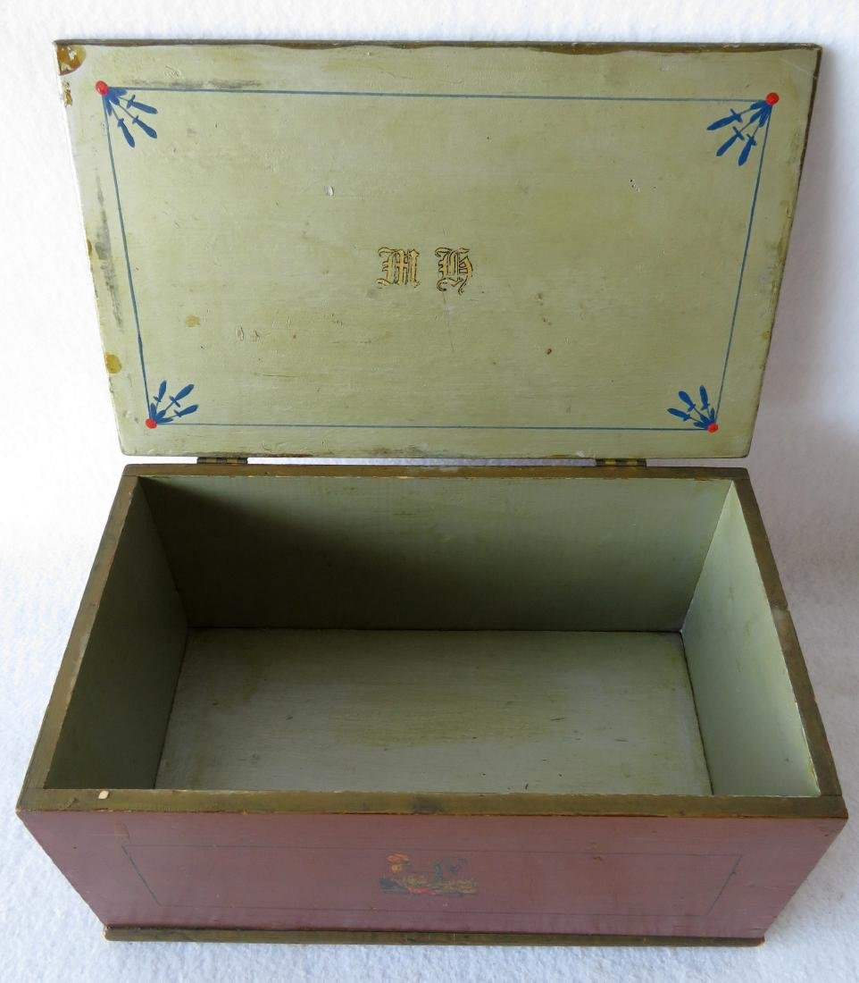 Small hand painted document box with portrait of Indian - 9