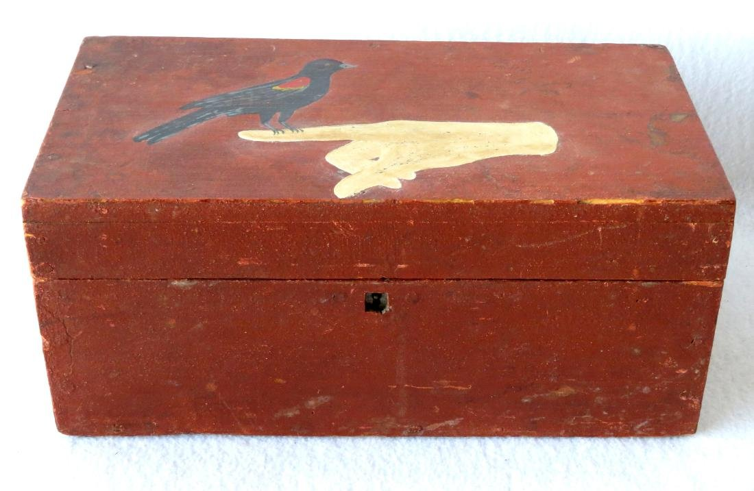Early document box in original red paint signed on