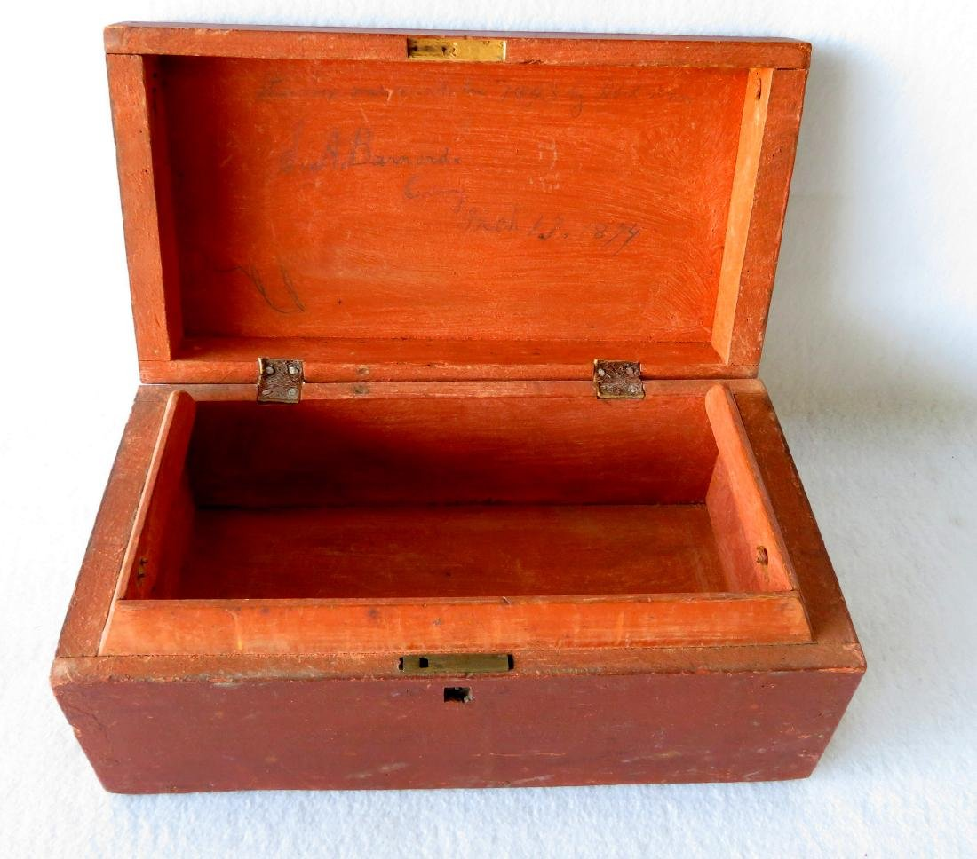 Early document box in original red paint signed on - 4