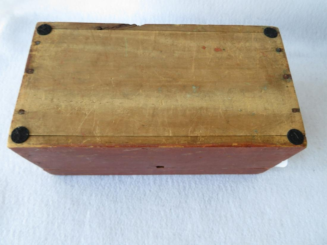 Early document box in original red paint signed on - 6