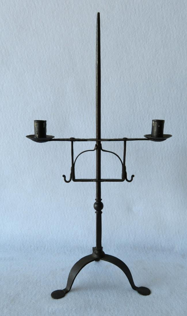 Table top hand forged iron lighting device, 18th