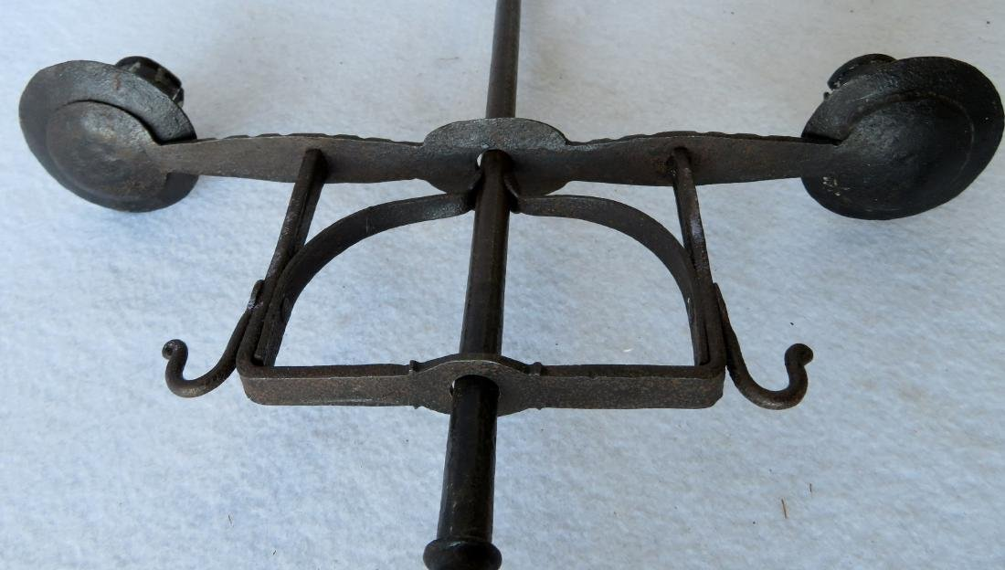 Table top hand forged iron lighting device, 18th - 5