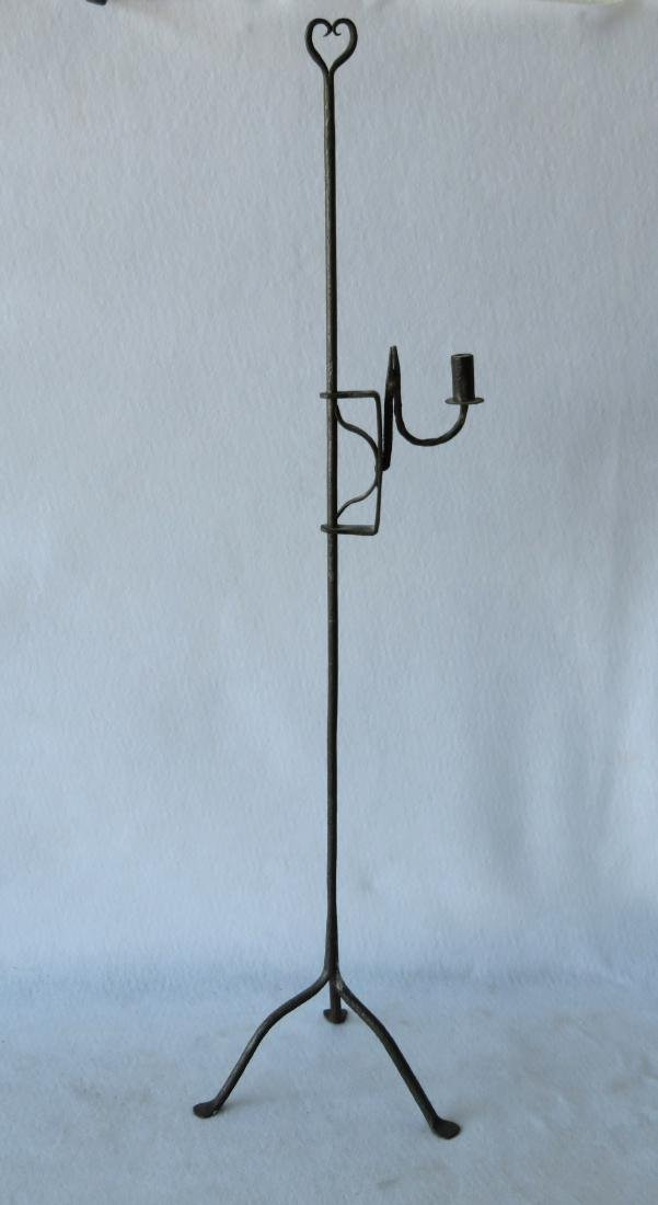 Hand forged iron floor standing adjustable candle rush