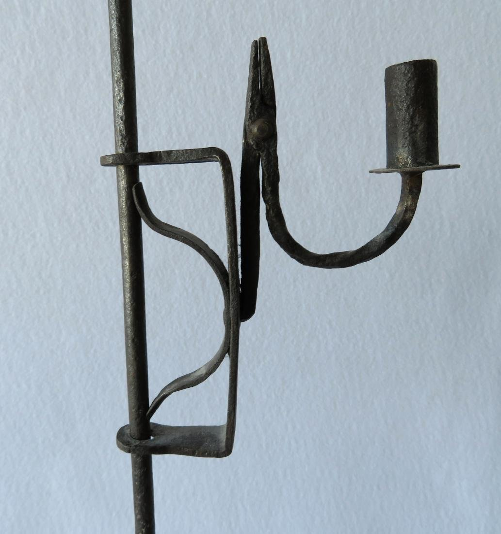Hand forged iron floor standing adjustable candle rush - 2