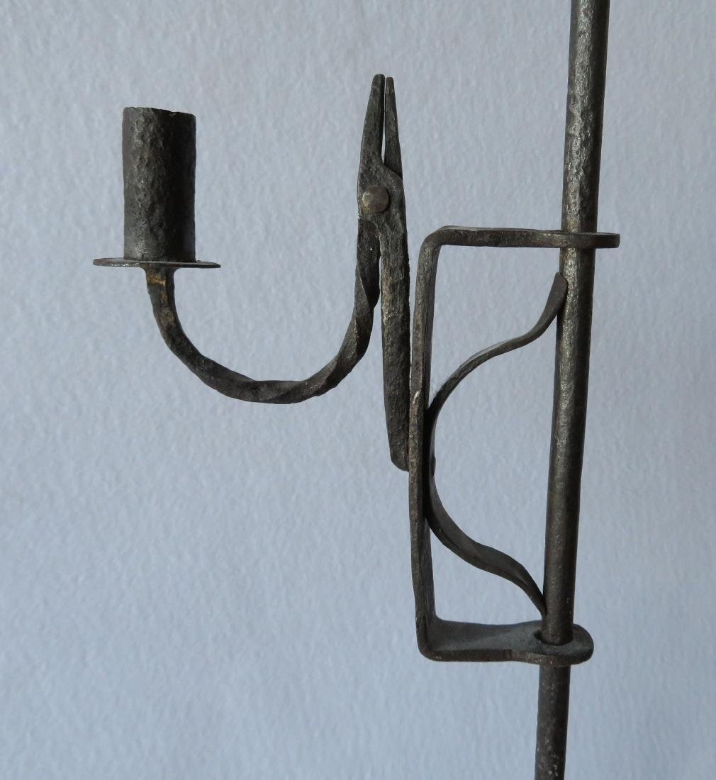 Hand forged iron floor standing adjustable candle rush - 5