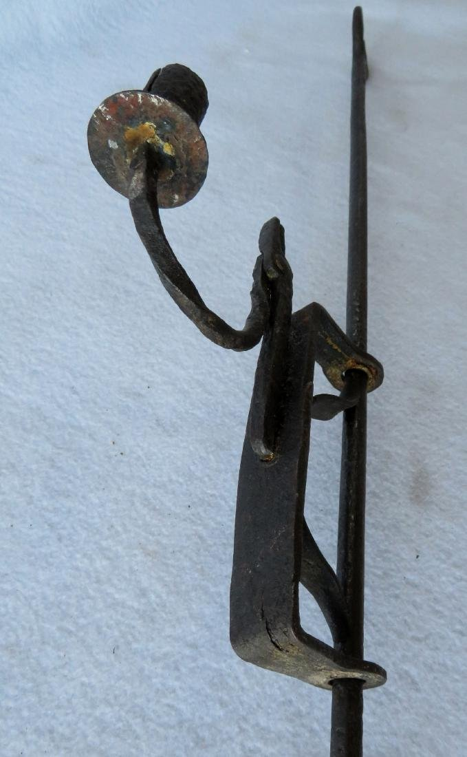 Hand forged iron floor standing adjustable candle rush - 6