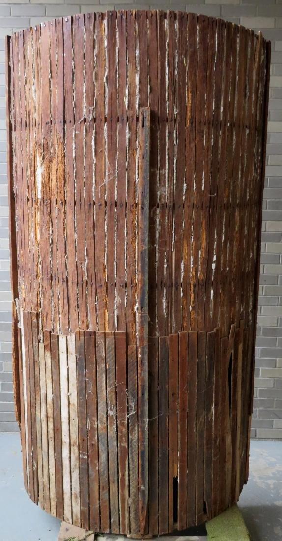 Early barrel back corner cupboard having 2 raised - 6