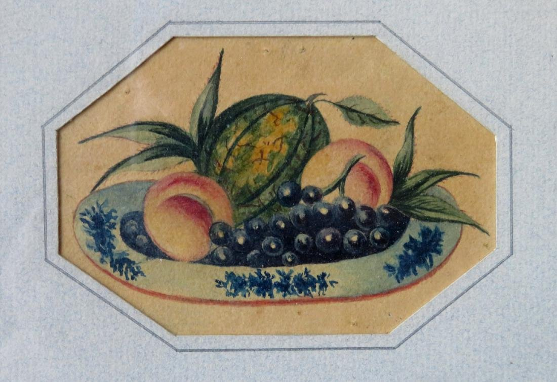 Miniature W/C Theorem of fruit in bowl. Appears to be - 2