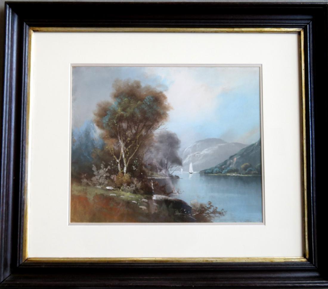 Pastel Hudson River landscape signed Chandler (William