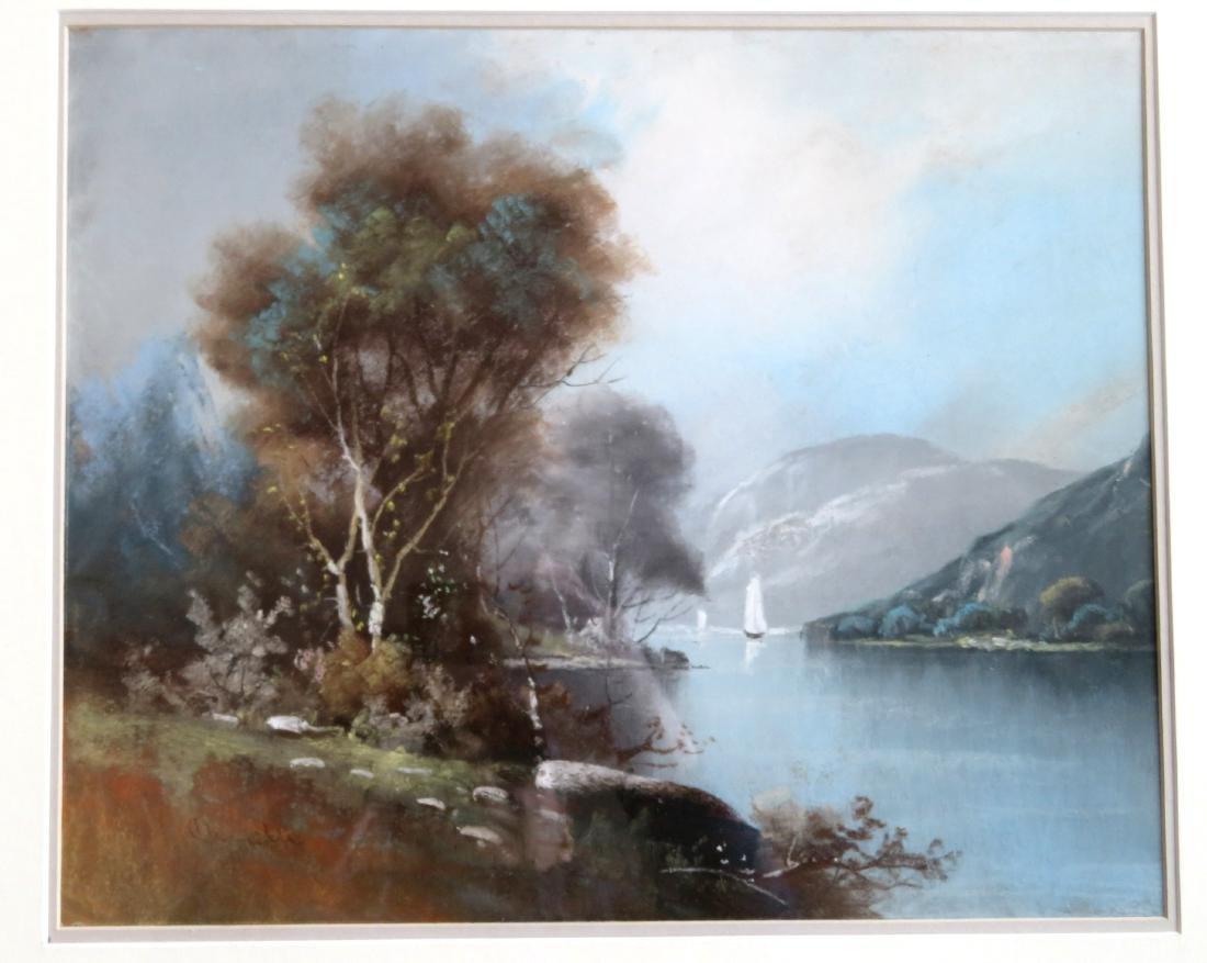 Pastel Hudson River landscape signed Chandler (William - 2
