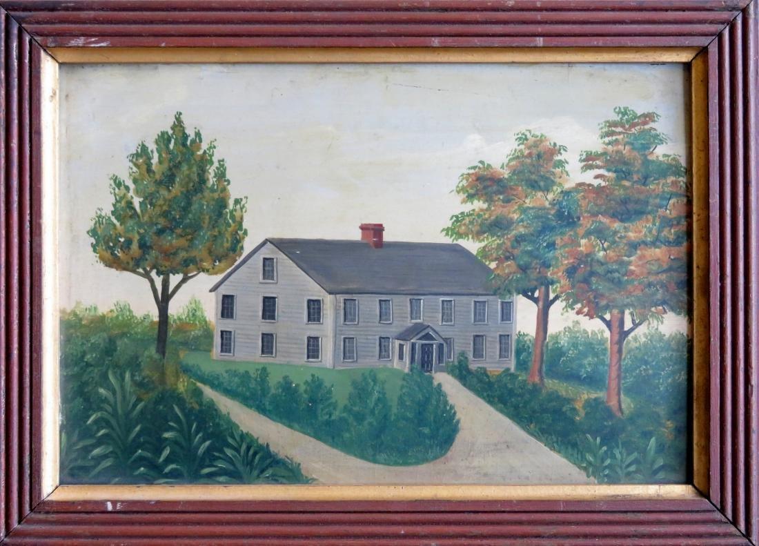 Oil on artist board - Portrait of a farmhouse - 19th