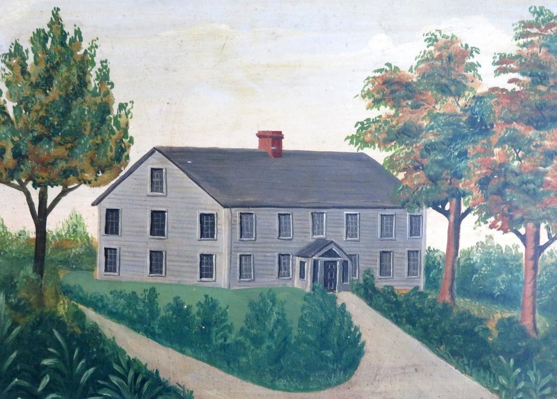 Oil on artist board - Portrait of a farmhouse - 19th - 2