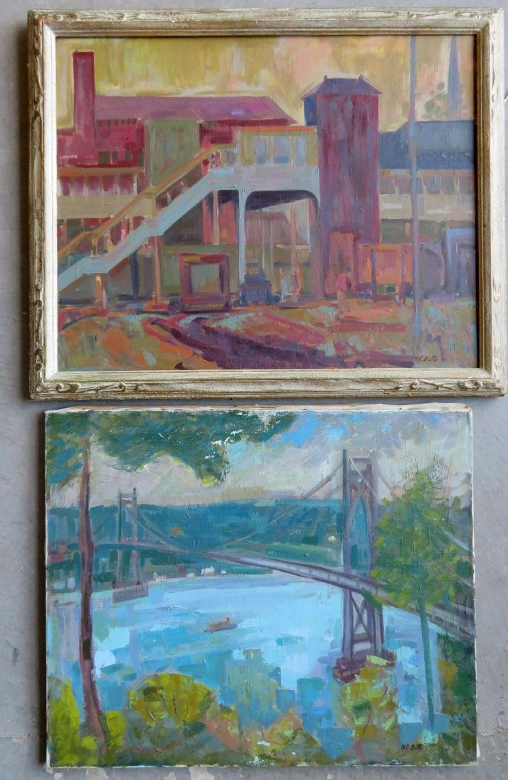 Two Poughkeepsie NY impressionist paintings signed by